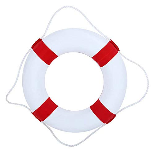 Alpertie Swim Foam Ring Buoy Children Swimming Pool Safety Life Preserver with Perimeter Rope Pack of 1