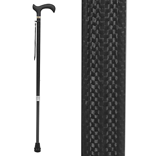 Vive Carbon Fiber Cane - Lightweight Walking Stick for Men and Women - Mobility Aid with Adjustable Heigh - Rubber Tip - Portable Support for Seniors and Elderly - Ultra Light with Soft Hand Grip