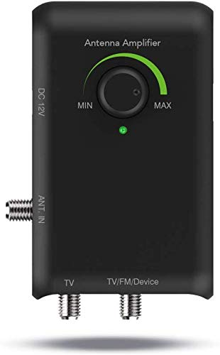 Antop Antenna Amplifier, HDTV Antenna Signal Booster Amplifier Strengthen VHF UHF FM Signal Connects to More Than one Device: FM Stereo, a Second TV, a Streaming Device for Any Non-Amplified Antenna