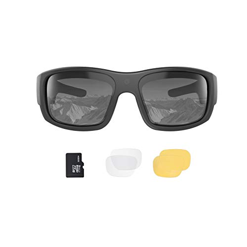 OhO Video Sunglasses,32GB 1080P Full HD Video Recording Camera with Built in 15MP Camera and Polarized UV400 Protection Safety and Interchangeable Lens