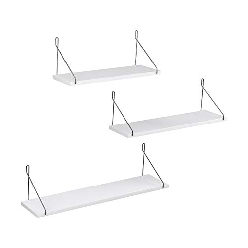 SONGMICS Wall Shelves, Floating Shelf Set of 3, Decorative Shelves, for Living Room Kitchen Hallway, Different Length 15.7 Inches, 19.7 Inches, 23.6 Inches, White ULWS68WT