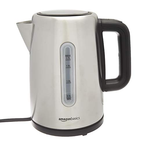 AmazonBasics Stainless Steel Fast, Portable Electric Hot Water Kettle for Tea and Coffee, 1.7-Liter, Silver