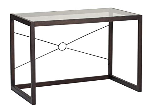 Studio Designs Home Office Newel 48'W Wood and Glass Writing Desk, Java/Clear Glass Finish