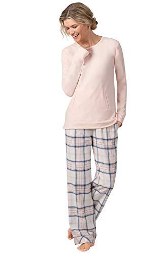 Addison Meadow Flannel Pajamas for Women - Soft PJs Women, Pink Plaid, M, 8-10