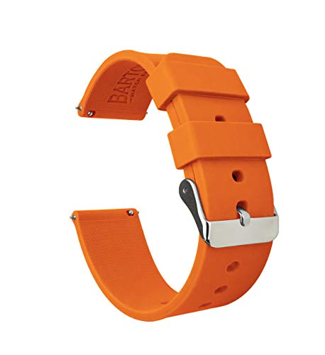 24mm Pumpkin Orange - BARTON Watch Bands - Soft Silicone Quick Release Straps