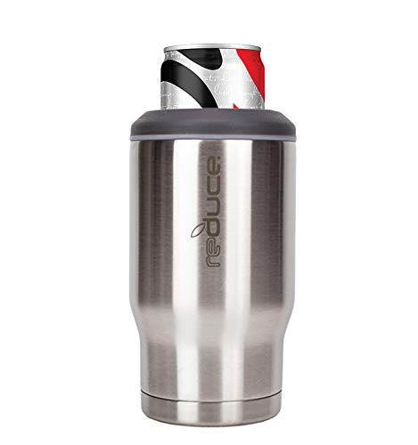REDUCE 4-in-1 Stainless Steel Bottle and Can Insulator – This Drink Cooler Keeps Bottles, Cans, Skinny Cans and Mixed Drinks Ice Cold – Sweat-Free, Perfect for Outdoor Drinking – Stainless Steel
