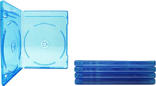 (5) Empty Standard DOUBLE Blue Replacement Boxes / Cases for Blu-Ray Disc Movies #BR2R12BL