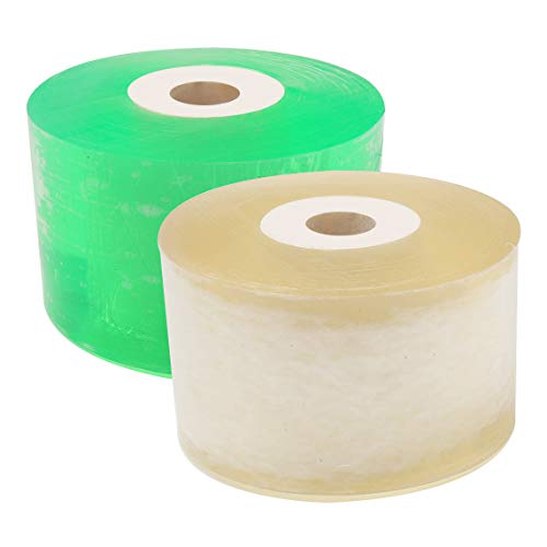 pengxiaomei 2 pcs Grafting Tape, Stretchable Garden Grafting Tape Plants Repair Tapes Clear Floristry Film for Floral Fruit Tree and Poly Budding Tape 1 Inch(Green,Yellow)