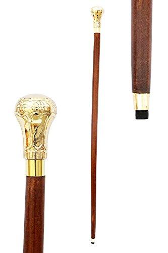 Tanishka Exports Brass Nautical Walking Stick Style Beautiful Walking Wooden Cane Men Strong Sturdy Wood Walking Stick