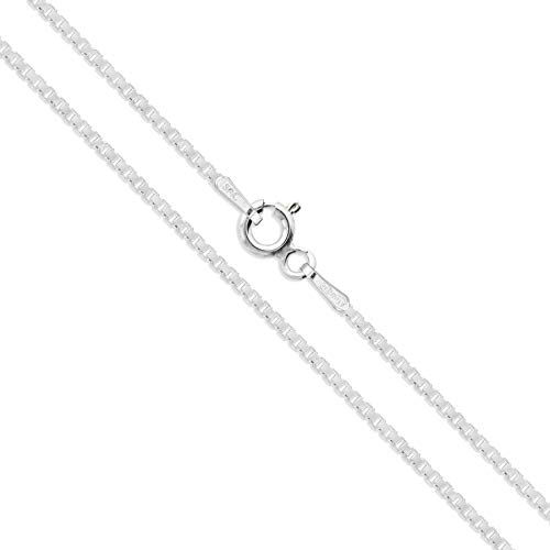 Sterling Silver Box Chain 1.5mm Genuine Solid 925 Italy Classic New Necklace 22'