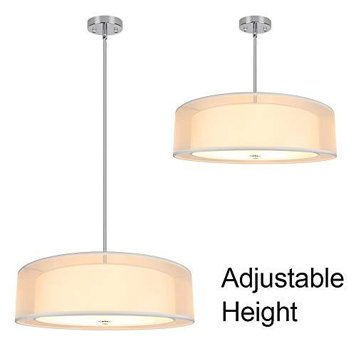 Depuley 3-Light Pendant Light Fixture, 20' Semi-Flush Mount Drum Ceiling Light for Kitchen Island Dining Room, Modern Ceiling Hanging Lights Chandelier, Adjustable Height