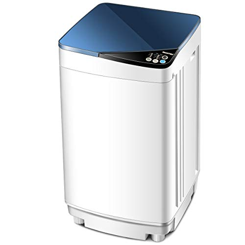 Giantex Full-Automatic Washing Machine Portable Washer and Spin Dryer 10 lbs Capacity Compact Laundry Washer with Built-in Barrel Light Drain Pump and Long Hose for Apartments Camping (White & Blue)