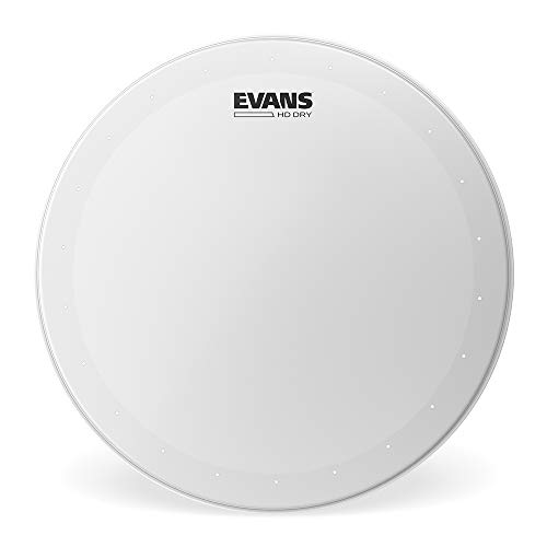 "Evans Genera HD Dry Snare Drum Head, 13"" (White)– Coated Drum Head Made Using Two Plies of Film –Overtone Ring Controls Sustain – Small Vent Holes Eliminate Stray Harmonics –Great for Live and Studio"