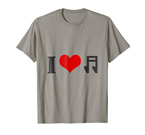 I Love Music T-Shirt Gift with Heart & Musical Note Image