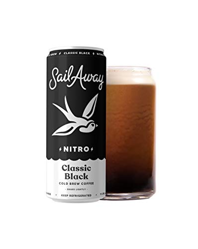 Sail Away Coffee Co. | Classic Black Nitro Cold Brew Coffee | Sugar Free, Gluten Free & Non-Dairy | Organic | Draft Nitrogen Pour, Clean Energy, Low Acidity, Keto | 11.5oz (12 pack)