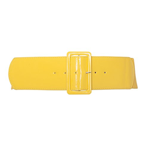 eVogues Women's Wide Patent Leather Fashion Belt Yellow - One Size Junior