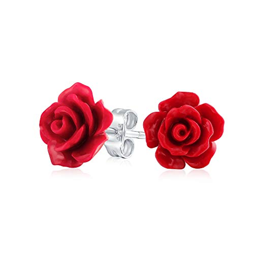 Romantic Delicate Floral Blooming 3D Craved Red Rose Flower Stud Earrings For Women For Teen For Mother Silver Plated