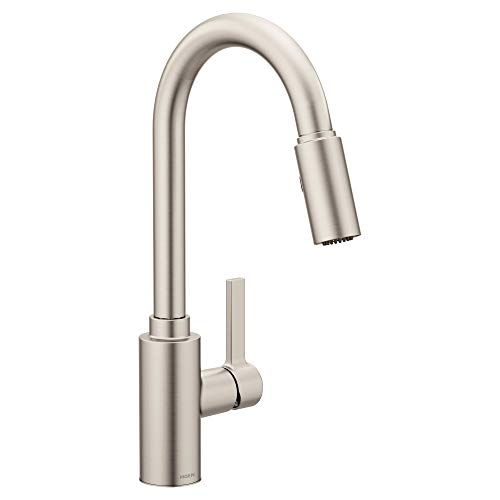 Moen 7882SRS Genta Single-Handle Pull-Down Sprayer Modern Kitchen Faucet with Reflex and Power Boost, Spot Resist Stainless