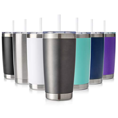 Civago 20oz Tumbler with Lid and Straw, Stainless Steel Vacuum Insulated Coffee Tumbler Cup, Double Wall Powder Coated Travel Mug (Gray, 1 Pack)