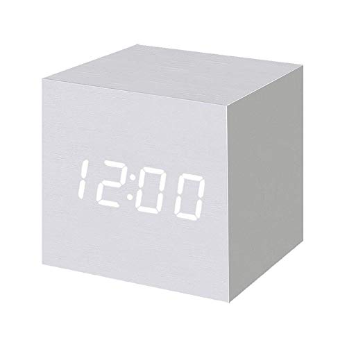 T&F Wood Alarm Clock Digital LED Light Minimalist Mini Cube with Date and Temperature for Travel Kids Bedroom-White