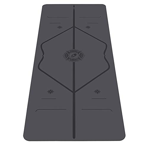 Liforme Gratitude Yoga Mat - Patented Alignment System, Warrior-Like Grip, Non-Slip, Eco-Friendly and Biodegradable, Sweat-Resistant, Long, Wide and Thick - Gratitude Special Edition - Gray