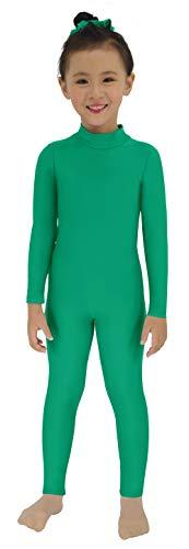 Speerise Girls Kids Spandex Long Sleeve Full Body Unitard Costume for Child, Green, 12-14