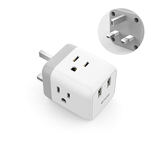 UK Ireland Hong Kong Power Adapter, TROND UK to US Travel Plug Adapter with 2 USB and 3 American Sockets, Type G Outlet Adapter for England Scotland London Singapore British Dubai, White