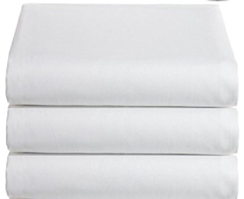 White Classic Flat Hospital Bed Sheets, Twin Size Flat Sheets, 3-Pack,