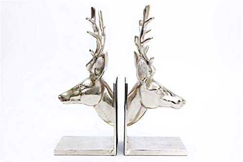 Sifcon International Caths Direct Silver Effect Aluminium Stag Heads Bookends 32cm High- Stunning Reindeer Bookends