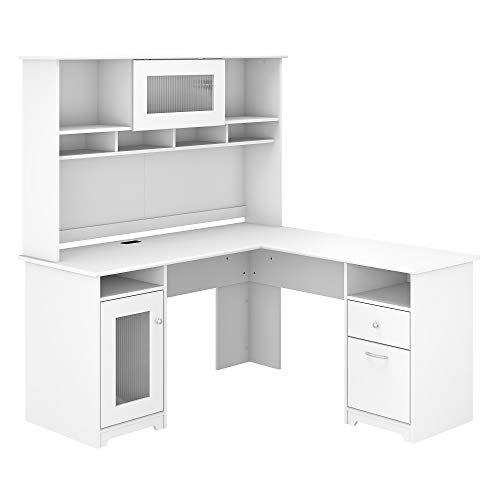 Bush Furniture Cabot 60W L Shaped Computer Desk with Hutch, White