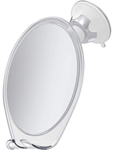 HoneyBull Shower Mirror for Shaving Fogless with Suction, Razor Holder & Swivel (White)