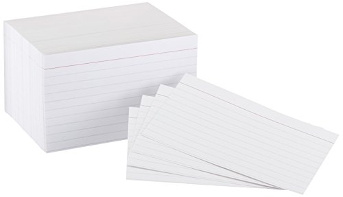 AmazonBasics Heavy Weight Ruled Lined Index Cards, White, 3x5 Inch Card, 300-Count - AMZ63530