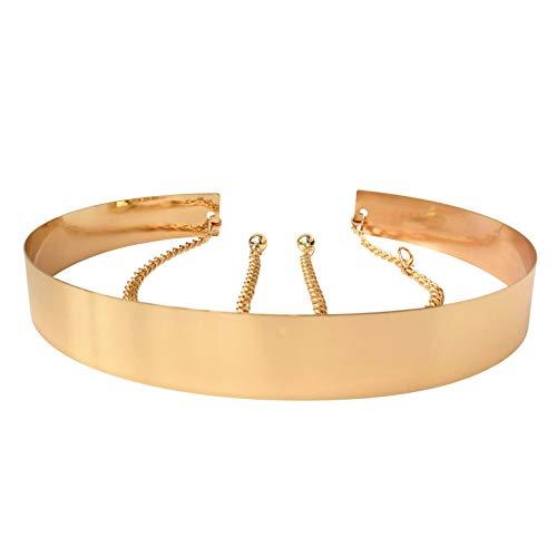 Live It Style It Womens Full Metal Waist Mirror Gold Silver Plate Waistband Belt