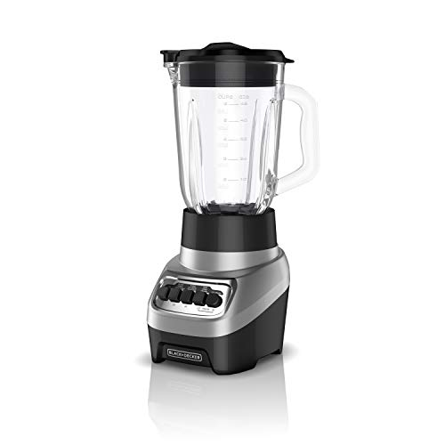 BLACK+DECKER PowerCrush Multi-Function Blender with 6-Cup Glass Jar, 4 Speed Settings, Silver