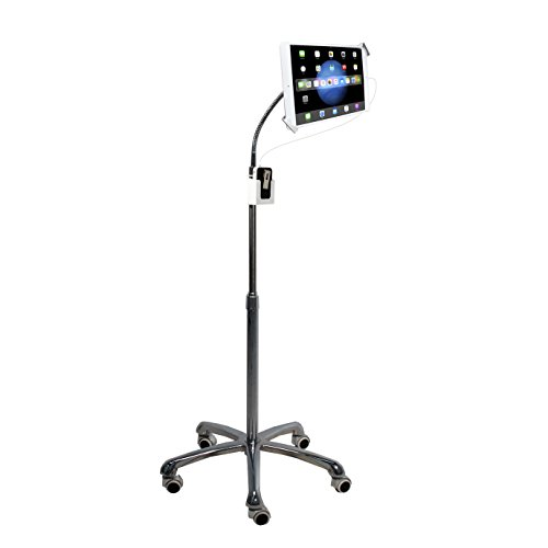 CTA Digital: Heavy-Duty Height-Adjustable, Rotating Tablet Stand with Security, Gooseneck and Locking Wheels for 7-13' Tablets, Including iPad 10.2-Inch (7th Gen.), Silver, Universal (PAD-SHFS)