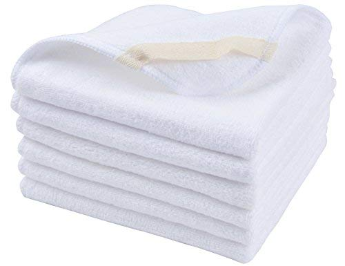 Sinland Microfiber Facial Cloths Fast Drying Washcloth 12inch x 12inch White 6 pack