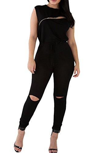 Meenew Womens Sleeveless Broken Hole Tie Waist Long Pants Jumpsuit XL, Black