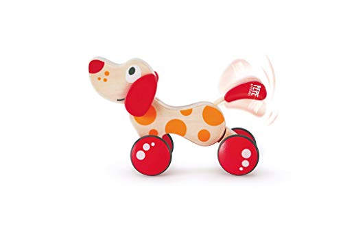 Walk-A-Long Puppy Wooden Pull Toy by Hape | Award Winning Push Pull Toy Puppy For Toddlers Can Sit, Stand and Roll. Rubber Rimmed Wheels for Easy Push and Pull Action, Red , Red/Orange