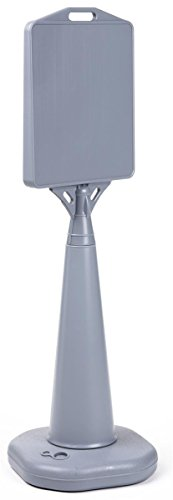 Heavy-Duty Grey Plastic Outdoor Cone Sign Holds 13 x 15-Inch Signs, Double-Sided, Weighted Base, 14-1/2 x 47 x 14-1/2-Inch