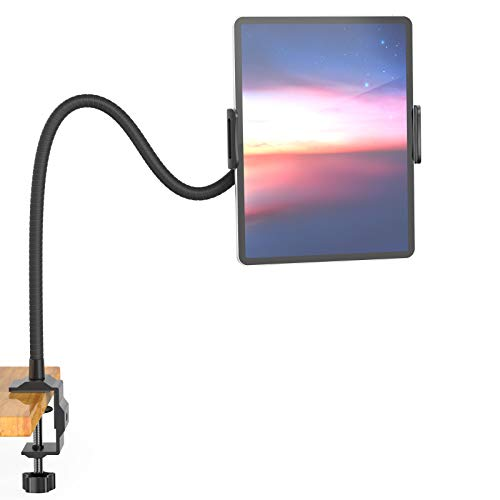 Aluminium Gooseneck Tablet Stand & Cell Phone Holder,Universal 360° Flexible Tablet Mount| Lazy Arm Holder Clamp Mount Bracket Bed Dock Compatible with Pad Mini/Air 2/3/4,Tab 2 3 and 4.7-10.5' Devices