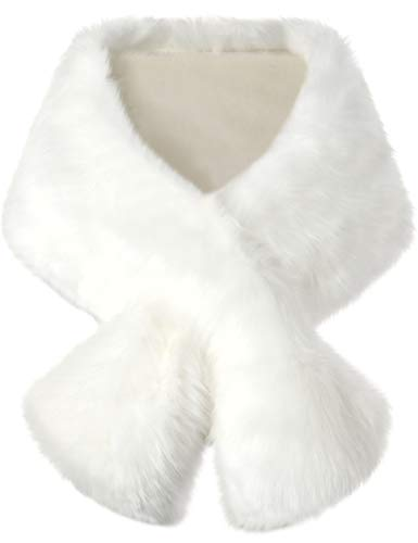 BABEYOND Womens Faux Fur Collar Shawl Faux Fur Scarf Wrap Evening Cape for Winter Coat (Off-white)