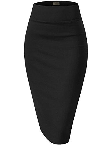 Womens Premium Stretch Office Pencil Skirt KSK45002 Black Small