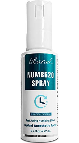 Ebanel 5% Lidocaine Spray Maximum Strength, 2.4 Fl Oz Numbing Spray Enhanced with 0.25% Phenylephrine, Topical Anesthetic Pain Relief Spray with Arginine, Allantoin, Secured with Child Resistant Cap