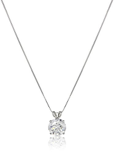 14k White Gold 8mm Round Cubic Zirconia Solitaire Pendant Necklace (2 carat, Diamond Equivalent), 18'