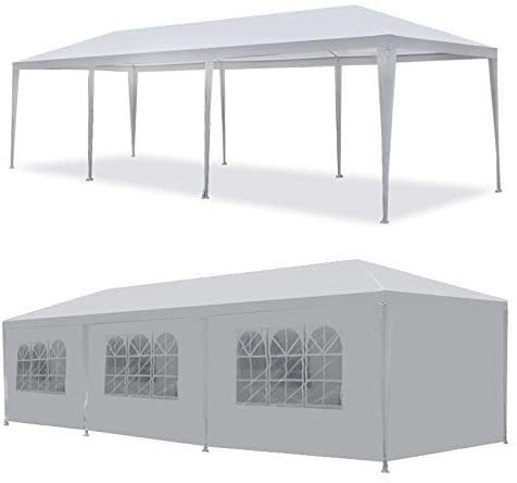 LEMY 10 X 30 Outdoor Wedding Party Tent Camping Shelter Gazebo Canopy with Removable Sidewalls Easy Setup Gazebo BBQ Pavilion Canopy Cater Events 3x9