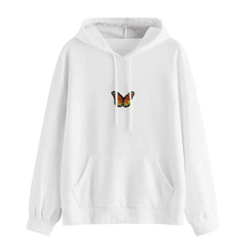 LATINDAY Women's Butterfly Patchwork Pocket Casual Pullover Hooded Sweatshirt White
