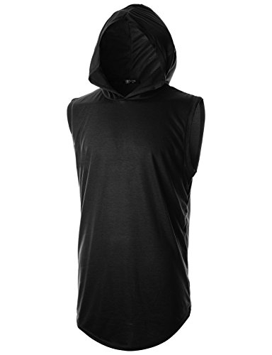 GIVON Mens Slim Fit Hipster Sleeveless Hoodie with Kanga Pocket/DCF025-BLACK-XL
