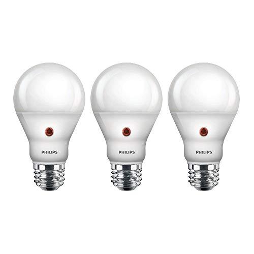 Philips LED Dusk-to-Dawn Outdoor A19 Light Bulb, Flicker-Free, 800 Lumen, Soft White Light (2700K), 8W=60W, E26 Base, 3-Pack