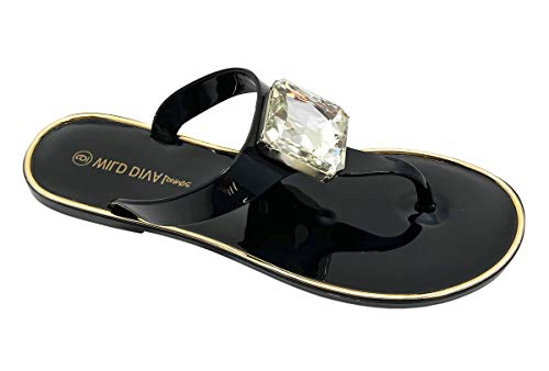 Wild Diva Womens Slingback T Strap Jelly flip Flop Ankle Strap Thong Sandals (8, Black Jelly)