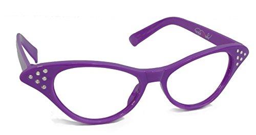 Hip Hop 50s Shop Womens Cat Eye Rhinestone Glasses, Purple